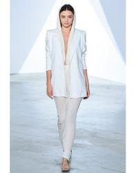 Vionnet - White Cotton Viscose Piqué Boyfriend Jacket - Lyst