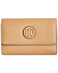 Tommy Hilfiger | Brown Lucky Charm Medium Pebble Leather Flap Wallet | Lyst