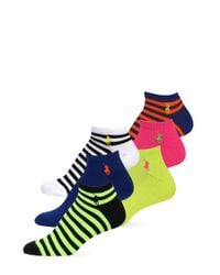 Ralph Lauren | Yellow 6-pack Stripe Mix Polo Sport Ped Socks | Lyst