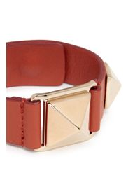 Valentino - Orange 'rockstud' Macro Leather Bracelet - Lyst