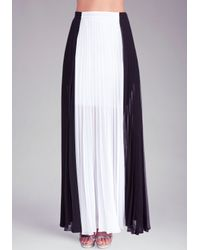 Bebe - White Pleated Colorblock Maxi Skirt - Lyst