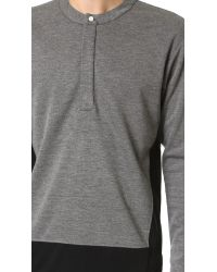 Public School - Gray Henley Shirt for Men - Lyst