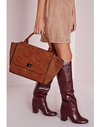 Missguided - Brown Studded Winged Tote Tan - Lyst