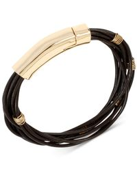 Robert Lee Morris | Brown Gold-tone Leather Stand Bracelet | Lyst