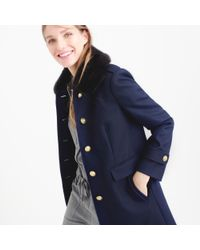 J.Crew - Blue Wool Melton Military Coat With Faux-fur Collar - Lyst