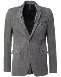 Miharayasuhiro - Gray Distressed Blazer for Men - Lyst