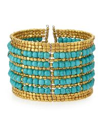 Nakamol - Blue Beaded Wire Cuff Bracelet - Lyst