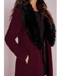 Missguided - Black Longline Wool Coat With Faux Fur Collar Burgundy - Lyst
