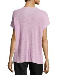 Natori - Pink Draped Short-sleeve Ribbed Sweater - Lyst