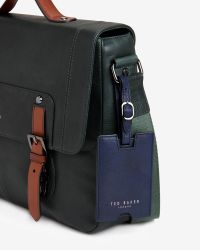 Ted Baker - Green Color Block Leather Messenger Bag for Men - Lyst