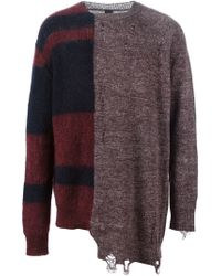 Miharayasuhiro - Red Contrasting Panels Distressed Sweater for Men - Lyst