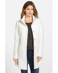 Kensie | White Single Breasted Ruffle Hem Coat | Lyst