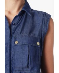 7 For All Mankind Blue Denim Military Romper