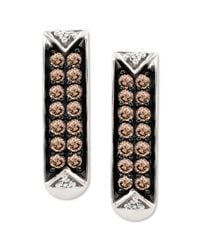 Le Vian | Brown Pave Chocolate Diamond 13 Ct Tw and White Diamond Accent Earrings in 14k White Gold | Lyst