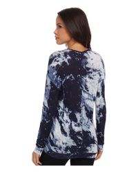 Calvin Klein Jeans - Blue Long Sleeve U-neck Printed Top - Lyst
