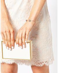 Ted Baker - Metallic Crystal Double Daisy Ultra Fine Cuff Bracelet - Lyst
