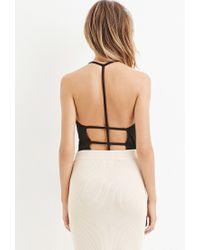 Forever 21 - Black T-strap Back Bodysuit - Lyst