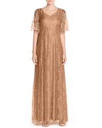 Donna Morgan - Natural 'madeline' V-neck Lace A-line Gown - Lyst