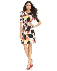 Vince Camuto - Multicolor Elbow-Sleeve Paintbrush-Print Dress - Lyst