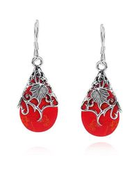 Aeravida | Pink Floral Vine Ornate Teardrop Red Coral .925 Silver Earrings | Lyst