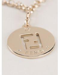 Fendi | Metallic Logo Pendant Necklace | Lyst