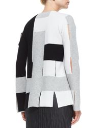 Edun - White Colorblock Weave Knit Sweater - Lyst