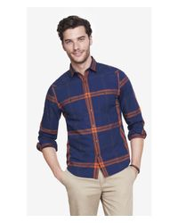 Express | Blue Plaid Shirt for Men | Lyst