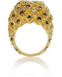Saint Laurent - Metallic Lion Goldtone Crystal Ring - Lyst