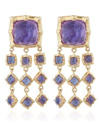 Larkspur & Hawk | Metallic Small Gold Purple Amethyst Bella Waterfall Earrings | Lyst