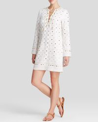 20ae9974d39 Lyst - MICHAEL Michael Kors Embellished Tunic Dress in White