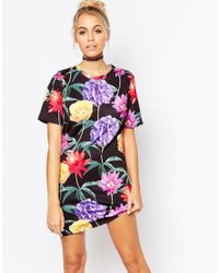 Jaded London | Black Wallpaper Floral T-shirt Dress - Multi | Lyst