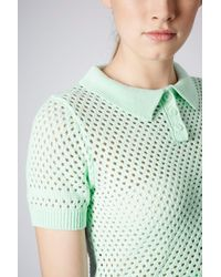 TOPSHOP | Green Short Sleeve Mesh Polo Top | Lyst