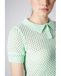 TOPSHOP - Green Short Sleeve Mesh Polo Top - Lyst