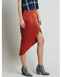 Free People - Orange Lily Wrap Column Skirt - Lyst