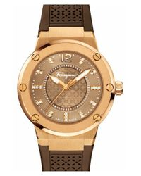 Ferragamo - Brown 'f-80' Rubber Strap Watch - Lyst