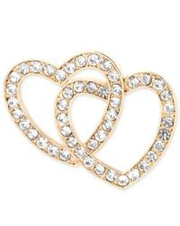 Jones New York - Metallic Double Heart Crystal Pin - Lyst