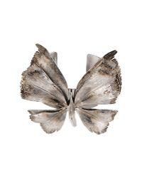 Valentino | Metallic Antiqued Silvertone Butterfly Cuff Bracelet | Lyst