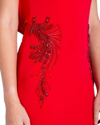 Badgley Mischka | Red Hip Beaded Cowl Back Evening Gown | Lyst