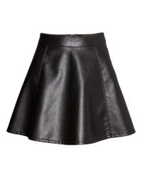 H&M - Black Imitation Leather Skirt - Lyst