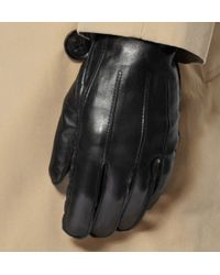 Burberry - Black Touch Screen Cashmere Lined Leather Gloves for Men - Lyst