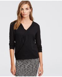 Ann Taylor | Black Petite Mixed Media Wrap Top | Lyst