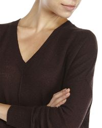 Line - Brown Cashmere V-Neck Sweater - Lyst
