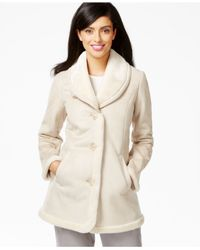 Jones New York | Natural Shawl-collar Faux-shearling Coat | Lyst