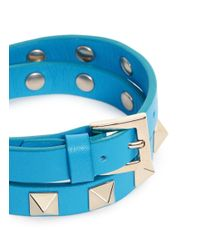 Valentino - Blue 'rockstud' Double Wrap Leather Bracelet - Lyst