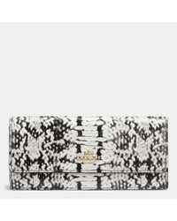 COACH | Black Soft Wallet In Colorblock Exotic Embossed Leather | Lyst