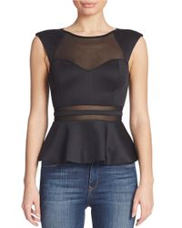 Guess | Black Mesh Panel Peplum Top | Lyst
