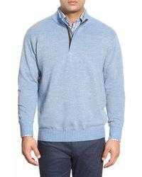 Peter Millar - Blue Quarter Zip Merino Wool Sweater for Men - Lyst