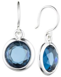 Anne Klein | Silver-tone Blue Stone Drop Earrings | Lyst