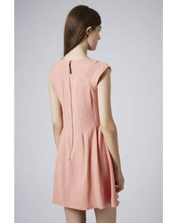 TOPSHOP - Pink Crepe Seam Detail Flippy Dress - Lyst