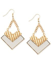 Guess | Metallic Gold-tone Textured Arrow Drop Earrings | Lyst
